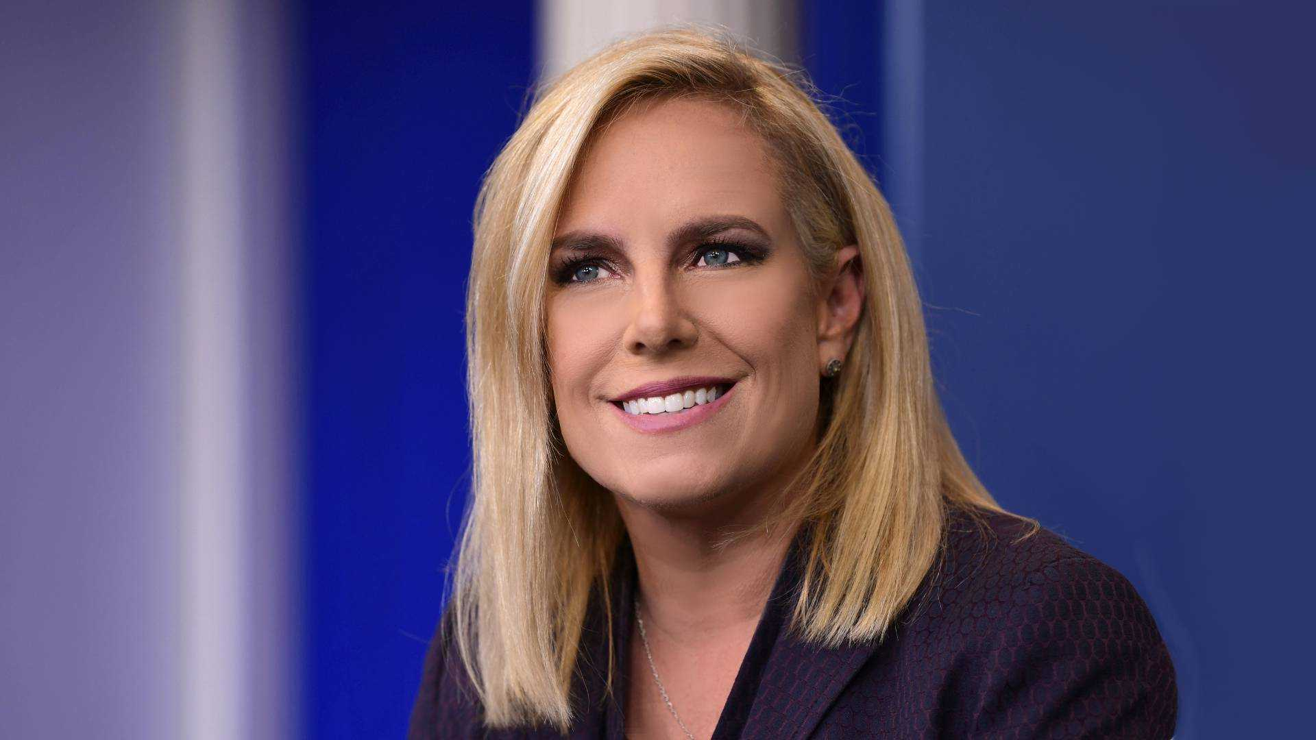 An image of Homeland Security Secretary Kirstjen Nielsen in a press briefing talks about illegal immigration during the daily briefing at the White House it's a head shot up close she has lite golden colored hair shoulder length and a great smile and large blue eyes, she is a very attractive woman